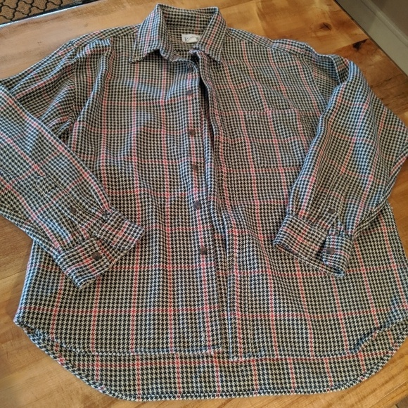 J Crew heavy cotton houndstooth button down  Large